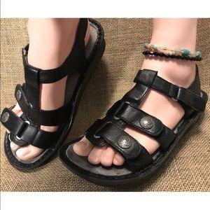 Women's Alegria Black Gray Sandal Size 7 - 7.5